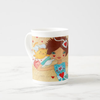 Valentine's Day Cupid Cats with Hearts and Flowers Bone China Mugs