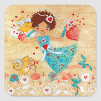 Valentine's Day Cupid Cats with Hearts and Flowers Square Sticker