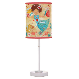 Valentine's Day Cupid Cats with Hearts and Flowers Table Lamp