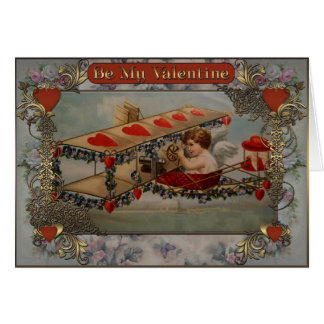 Valentine's Day - Cupid is flying in an airplane. Card