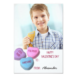 Valentine's Day Custom Candy Heart Classroom Photo Card