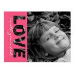 Valentines Day Custom Photo Postcard   Love is...