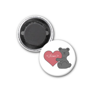 Valentine's Day Cute Black Bear Cub with Red Heart 1 Inch Round Magnet