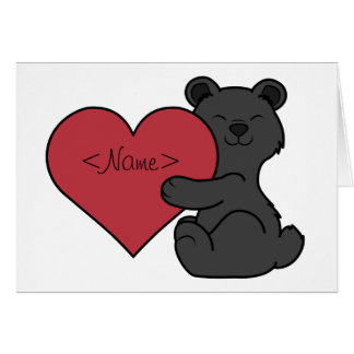 Valentine's Day Cute Black Bear Cub with Red Heart Card