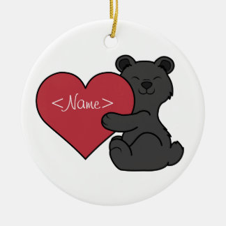 Valentine's Day Cute Black Bear Cub with Red Heart Ceramic Ornament