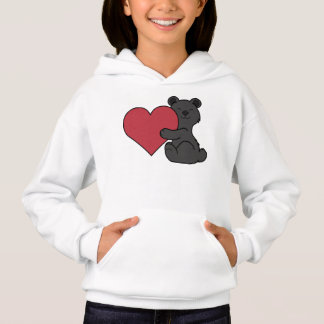 Valentine's Day Cute Black Bear Cub with Red Heart Hoodie