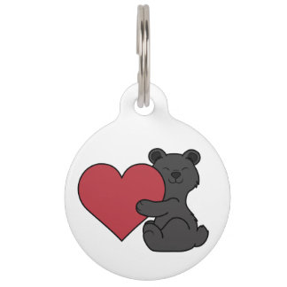 Valentine's Day Cute Black Bear Cub with Red Heart Pet Tag