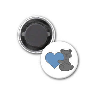 Valentine's Day Cute Black Bear with Blue Heart 1 Inch Round Magnet