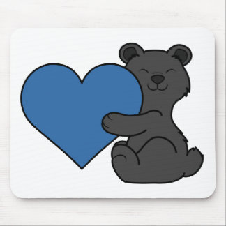 Valentine's Day Cute Black Bear with Blue Heart Mouse Pad
