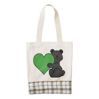 Valentine's Day Cute Black Bear with Green Heart Zazzle HEART Tote Bag