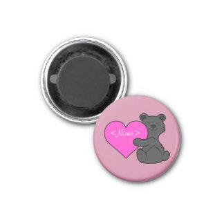 Valentine's Day Cute Black Bear with Pink Heart 1 Inch Round Magnet