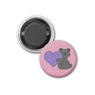Valentine's Day Cute Black Bear with Purple Heart 1 Inch Round Magnet