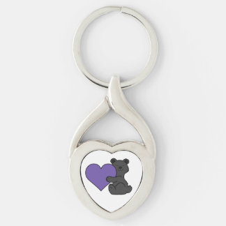 Valentine's Day Cute Black Bear with Purple Heart Keychain