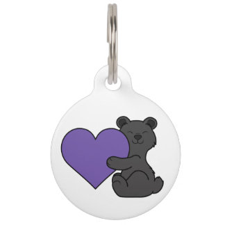Valentine's Day Cute Black Bear with Purple Heart Pet Name Tag