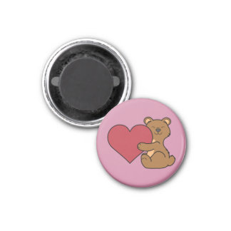 Valentine's Day Cute Brown Bear Cub with Red Heart 1 Inch Round Magnet