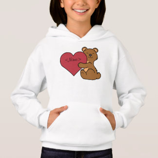 Valentine's Day Cute Brown Bear Cub with Red Heart Hoodie