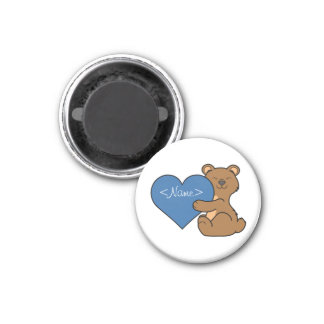 Valentine's Day Cute Brown Bear with Blue Heart 1 Inch Round Magnet