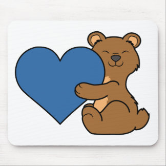 Valentine's Day Cute Brown Bear with Blue Heart Mouse Pad