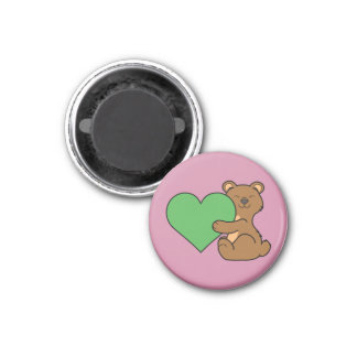 Valentine's Day Cute Brown Bear with Green Heart 1 Inch Round Magnet