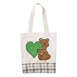 Valentine's Day Cute Brown Bear with Green Heart Zazzle HEART Tote Bag