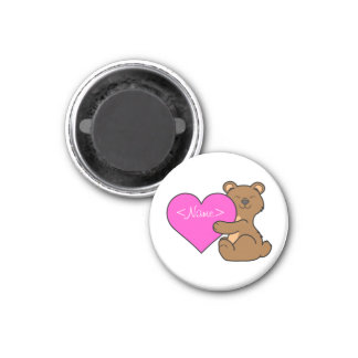 Valentine's Day Cute Brown Bear with Pink Heart 1 Inch Round Magnet