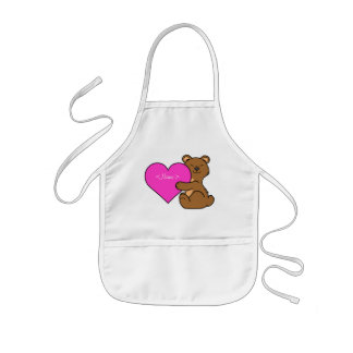Valentine's Day Cute Brown Bear with Pink Heart Kids' Apron