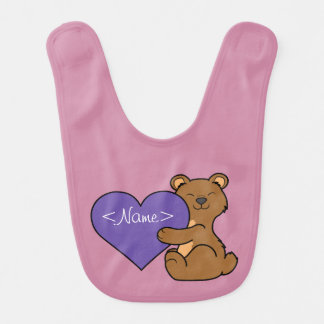 Valentine's Day Cute Brown Bear with Purple Heart Baby Bib