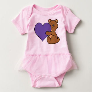 Valentine's Day Cute Brown Bear with Purple Heart Baby Bodysuit