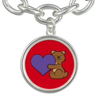 Valentine's Day Cute Brown Bear with Purple Heart Bracelet