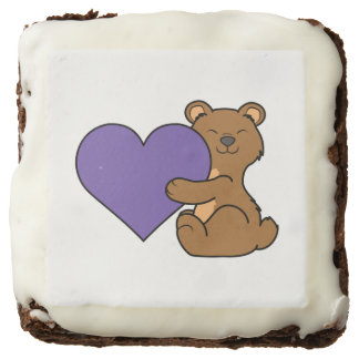 Valentine's Day Cute Brown Bear with Purple Heart Brownie