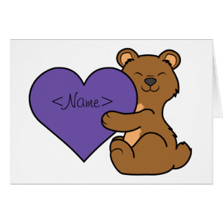Valentine's Day Cute Brown Bear with Purple Heart Card