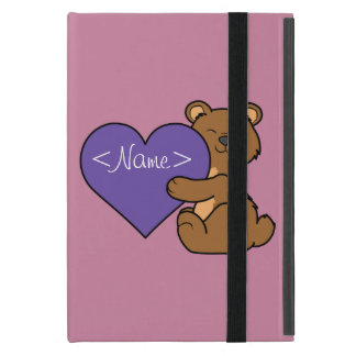 Valentine's Day Cute Brown Bear with Purple Heart Cases For iPad Mini