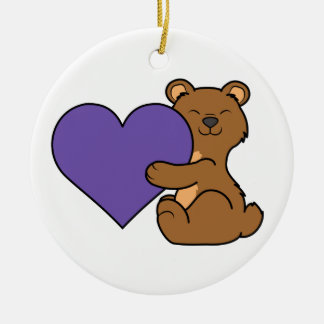 Valentine's Day Cute Brown Bear with Purple Heart Ceramic Ornament