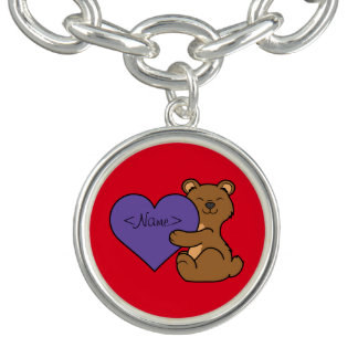Valentine's Day Cute Brown Bear with Purple Heart Charm Bracelet