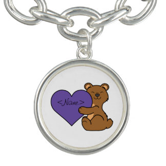 Valentine's Day Cute Brown Bear with Purple Heart Charm Bracelets