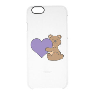 Valentine's Day Cute Brown Bear with Purple Heart Clear iPhone 6/6S Case