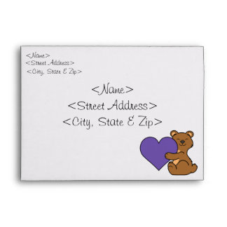 Valentine's Day Cute Brown Bear with Purple Heart Envelope
