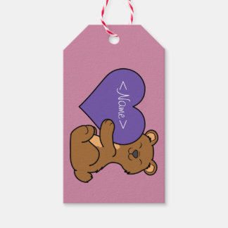 Valentine's Day Cute Brown Bear with Purple Heart Gift Tags