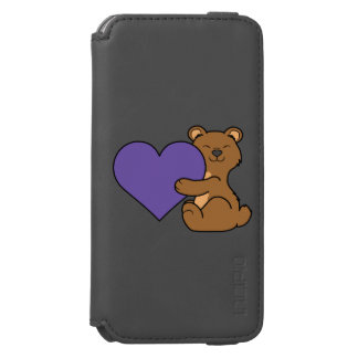 Valentine's Day Cute Brown Bear with Purple Heart iPhone 6/6s Wallet Case