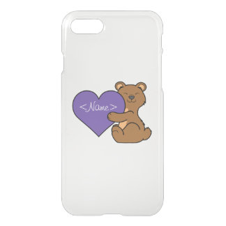 Valentine's Day Cute Brown Bear with Purple Heart iPhone 7 Case