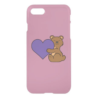Valentine's Day Cute Brown Bear with Purple Heart iPhone 8/7 Case