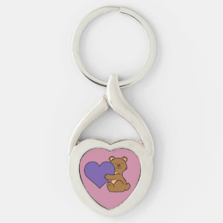 Valentine's Day Cute Brown Bear with Purple Heart Keychain