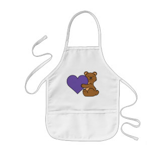 Valentine's Day Cute Brown Bear with Purple Heart Kids' Apron