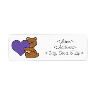 Valentine's Day Cute Brown Bear with Purple Heart Label