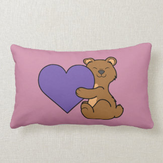 Valentine's Day Cute Brown Bear with Purple Heart Lumbar Pillow