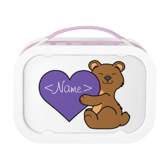 Valentine's Day Cute Brown Bear with Purple Heart Lunch Box