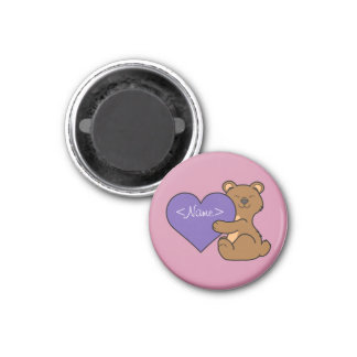 Valentine's Day Cute Brown Bear with Purple Heart Magnet
