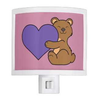 Valentine's Day Cute Brown Bear with Purple Heart Night Light