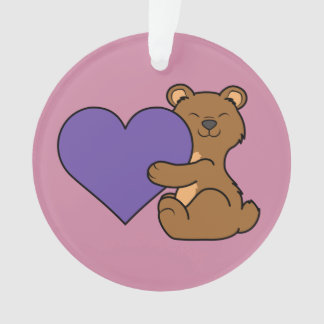 Valentine's Day Cute Brown Bear with Purple Heart Ornament
