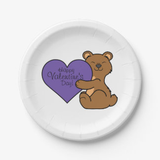 Valentine's Day Cute Brown Bear with Purple Heart Paper Plate